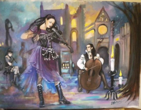 TABLEAU PEINTURE violoniste femme costumes gothiques décor médiéval mystérieux Personnages Acrylique  - musiciens gothiques