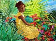 tableau personnages caraibes peinture des antille antoine molinero peintre de saint mar : La petite Doudou au jardin