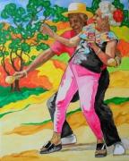 tableau personnages dansedanceantilles caraibesexpressionn peinturespeintrear evasionexotisme : Habana