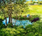 tableau : L'étang à Vinales. Cuba