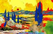 tableau paysages provence couleur : Base rouge Venice 2