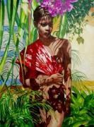 tableau personnages antoine molinero peintre des antilles caraibes peintre de saint mar : Anaïs Caraïbes