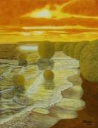 tableau paysages paysage surrealiste : La plage psychédélique