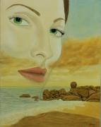 tableau personnages surrealisme realisme figuratif nature : Mirage Maritime