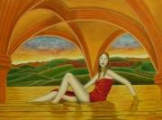 tableau personnages surrealisme realisme nature figuratif : Le Repos de Aphrodite