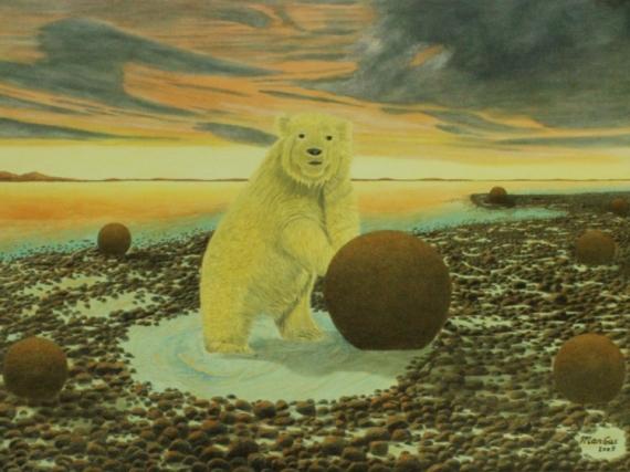 TABLEAU PEINTURE Surréalisme Réalisme Animalier Nature Animaux Peinture a l'huile  - Worst is yet to come in the Arctic
