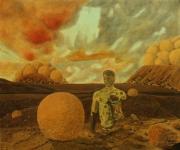 tableau paysages paysage personnages surrealisme : Vestiges romains à Ostia antica romantica