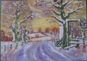 tableau paysages paysage neige campagne naure : paysage sous la neige