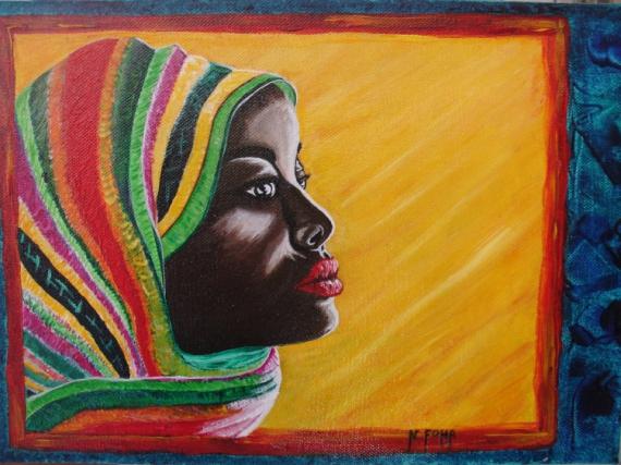 TABLEAU PEINTURE portrait afrique arc en ciel femme Personnages  - couleures d 'Afrique