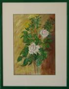 tableau fleurs rose fleur bouquet deco : roses blanches