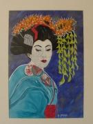 tableau personnages geisha bleu chine asie : geisha bleue