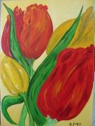 tableau fleurs fleur tulipe deco bouquet : Les tulipes