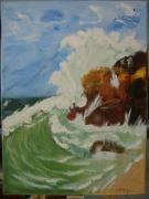 tableau paysages mer vague vacances rocher : Vacarme