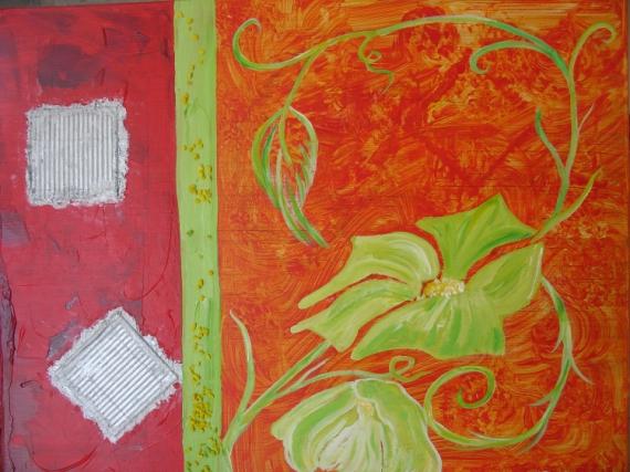 TABLEAU PEINTURE fleur rouge jardin expression Fleurs  - aux portes du jardin