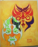 tableau maori orange masque exotisme : Masques Maori