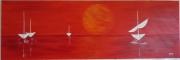 tableau marine bateau rouge serenite reve : sérénité rouge
