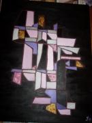 tableau abstrait : ROSE POUDRE