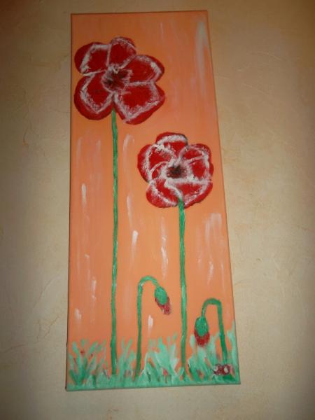 TABLEAU PEINTURE Fleurs Peinture a l'huile  - DUO DE COQUELICOTS