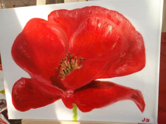 TABLEAU PEINTURE Fleurs Peinture a l'huile  - MON COQUELICOT