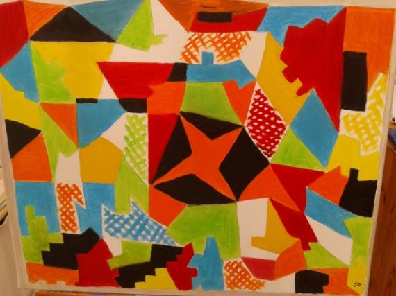 TABLEAU PEINTURE Abstrait Peinture a l'huile  - JOIE LANDAISE