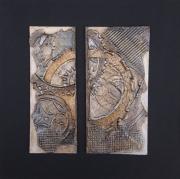 tableau abstrait engrenage matiere contemporain relief : Fracture #4