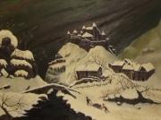 tableau architecture tableau ,a l huile ch neige anciennes toiles : le mont des lauriers