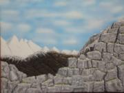 tableau paysages rochets haute montagne neige acrylique : rochets en haute montagnes