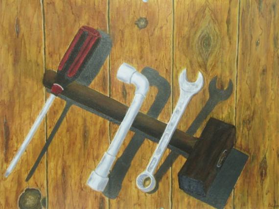 TABLEAU PEINTURE outils cle a pipe et plate tounevis marteau Nature morte Acrylique  - outils