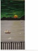 tableau marine charle trenet couche de soleil mouette voiliers : le ciel est vert la mer est grise