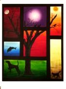 tableau abstrait abstrait ombres arbres animaux : le bizare