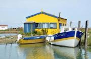photo marine cabanes couleurs ports bateaux : harmonie ostréicole