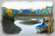 photo marine cabanes couleurs ports : peintures à l'eau