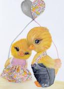 tableau animaux poussin liberty tableau enfant mignon : bébé poussins jaune Liberty tableau enfant