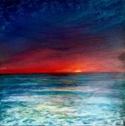tableau marine mer turquoise coucher de soleil : toile coucher du soleil ciel turquoise 40x40 cm original signé