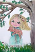 tableau personnages champetre enfant liberty fillette : Sarah fillette Liberty tableau enfant bébé Unique et signé