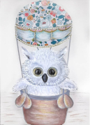 tableau animaux hiboux liberty tableau enfant mignon : bébé Hiboux dans sa montgolfière Liberty tableau enfant