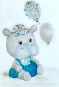 tableau animaux hippopotame liberty bebe enfant : bébé Hippo LIberty