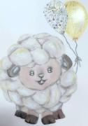 tableau animaux mouton liberty dore enfant : bébé Brebis mouton or Liberty tableau enfant