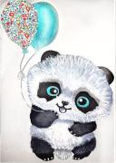 tableau animaux : Bébé Panda turquoise LIberty tableau enfant