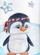 tableau animaux pingouin liberty enfant mignon : bébé Pingouin liberty tableau enfant unique original