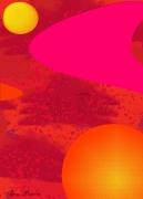 tableau abstrait rouge formes jaune toile : Solarité
