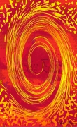 art numerique abstrait toubillon spirale grand rouge : Tourbillon or et rouge