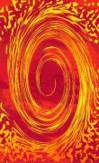 art numerique abstrait toubillon spirale grand rouge : Tourbillon or et rouge