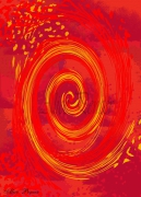 tableau abstrait rouge abstrait toile spirale : Naissance et mort