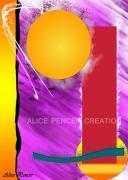 tableau abstrait rouge rond jaune abstrait : Géométrie Variable