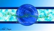 art numerique abstrait rond bleu tableau grand : Zen Bleu