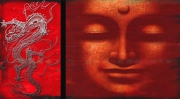 art numerique abstrait boudha zen rouge dragon : boudha
