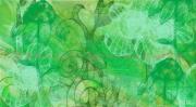 art numerique fleurs fleurs vert filigrame tableau : Psychédéclique vert