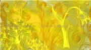 art numerique fleurs or fleur toile tableau : Psychédéclique jaune