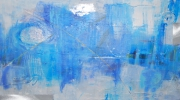 mixte abstrait abstrait bleu toile argent : Infiniment Bleu